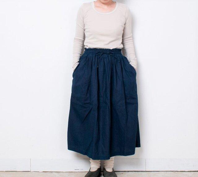藍染 麻ギャザースカート 無地の画像1枚目