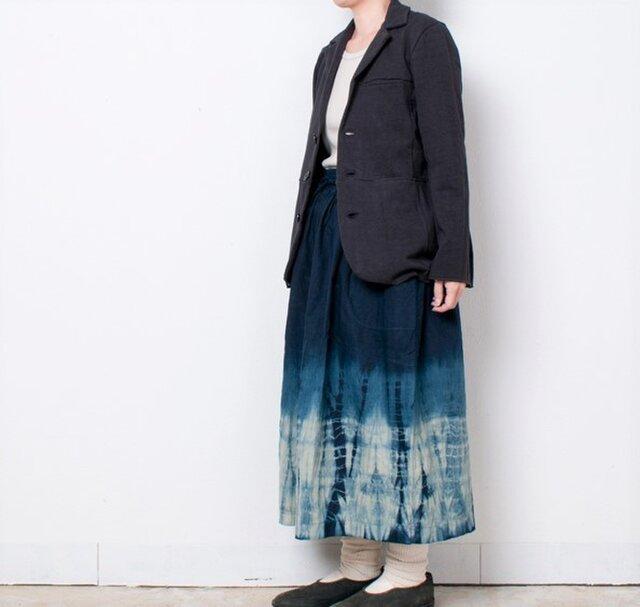 藍染 麻ギャザースカート 柳絞りの画像1枚目