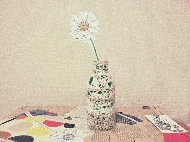 ペーパーフラワーと一輪挿し*knit 2color whiteの画像1枚目
