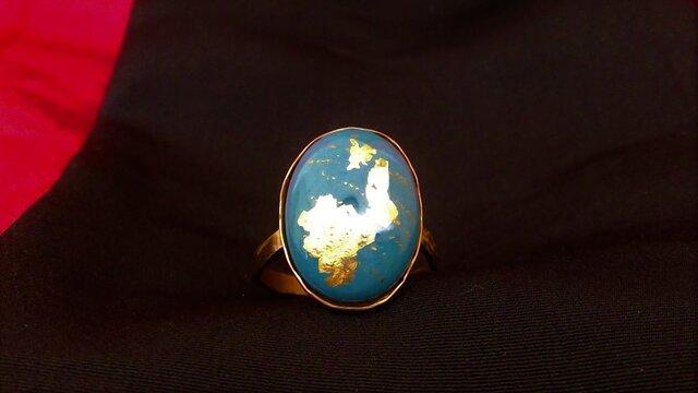 トルコブルー金箔金彩指輪の画像1枚目
