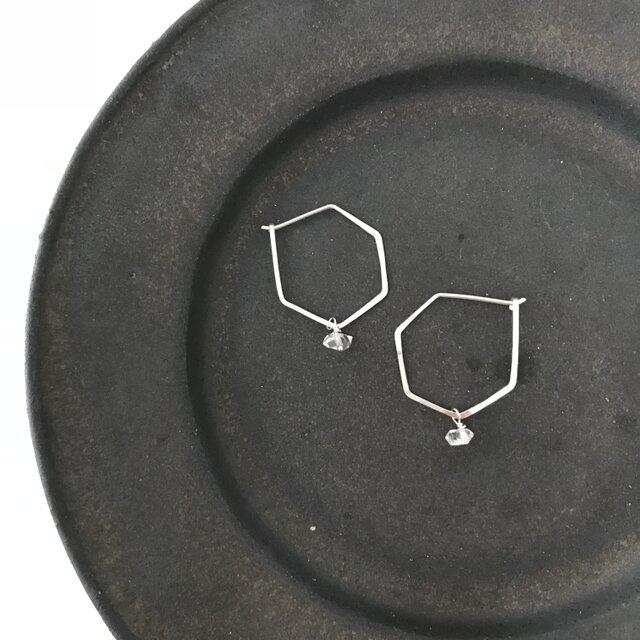 sv950ヘキサゴンフープピアスハーキマーダイヤモンドチャームの画像1枚目