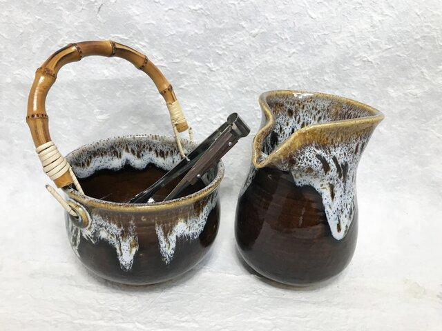 陶器 水割りセット大(アイスペール+ピッチャー)茶色 トング付きの画像1枚目