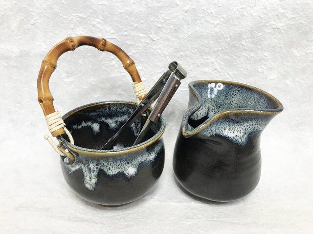 陶器 水割りセット小(アイスペール+ピッチャー)青黒 トング付きの画像1枚目