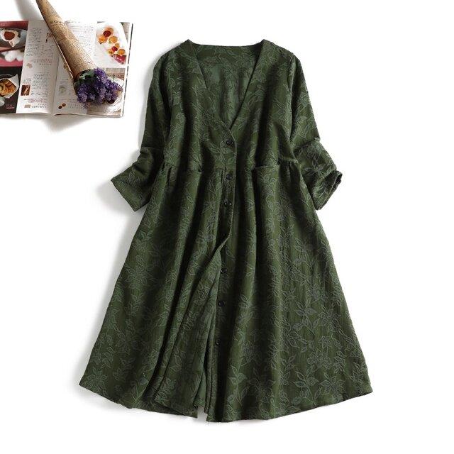 903-1ジャガード織り生地 花柄模様 秋向き 綿麻 ワンピース グリーンの画像1枚目