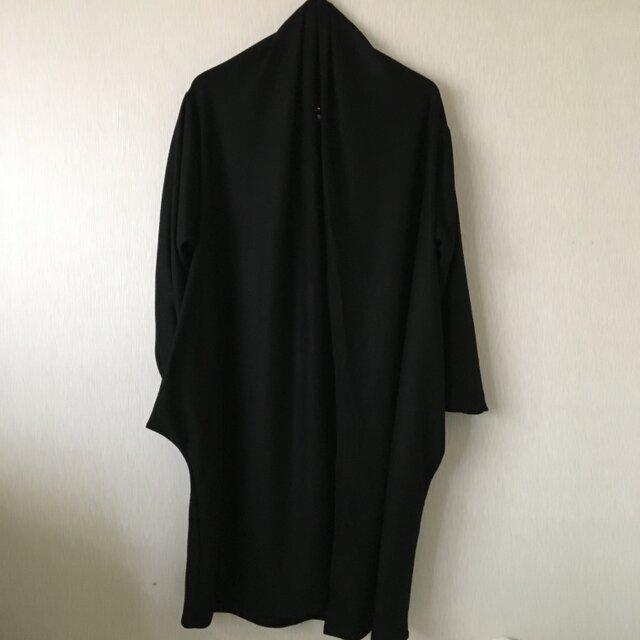 ウール天竺ポケット遊びガウンコート 黒Fの画像1枚目
