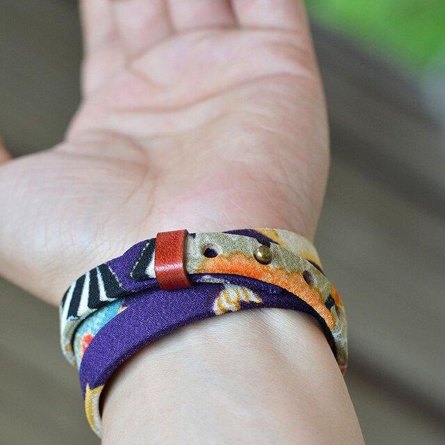 和風ブレスレット お祝い 紫  レザー 3連 Triple braceletの画像1枚目