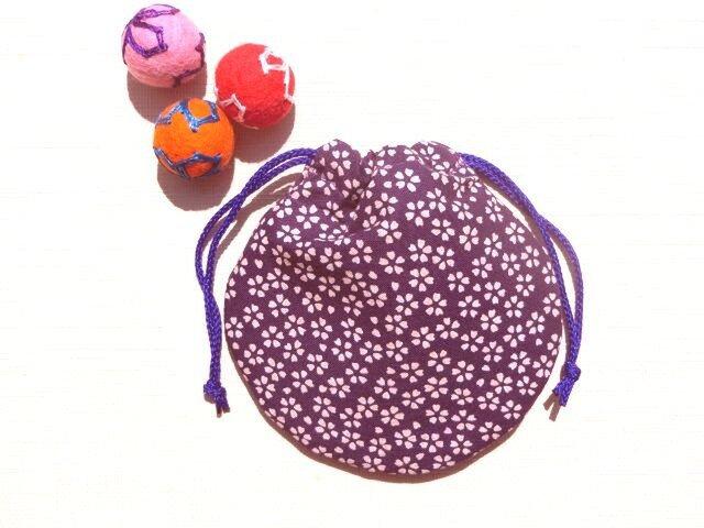 ミニ巾着 紫色小桜 御守り 小物収納 プレゼントにも の画像1枚目