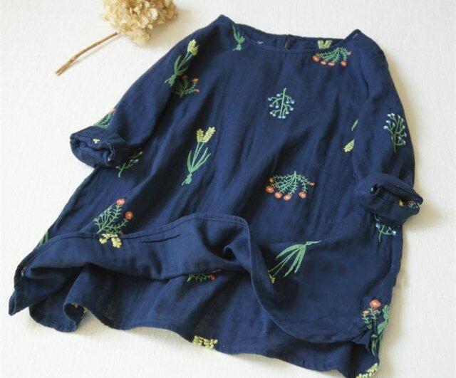 【受注製作】綿麻刺繍!可愛綿麻製トップス・ブラウス098016 青の画像1枚目