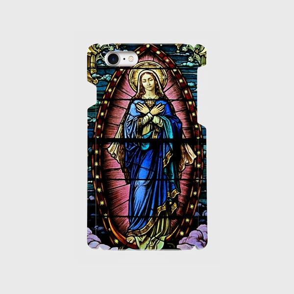 ステンドグラスモチーフ(マリア像)② iphone5/5c/5s/6/6s/7/8/X 等 専用 ハードケースの画像1枚目
