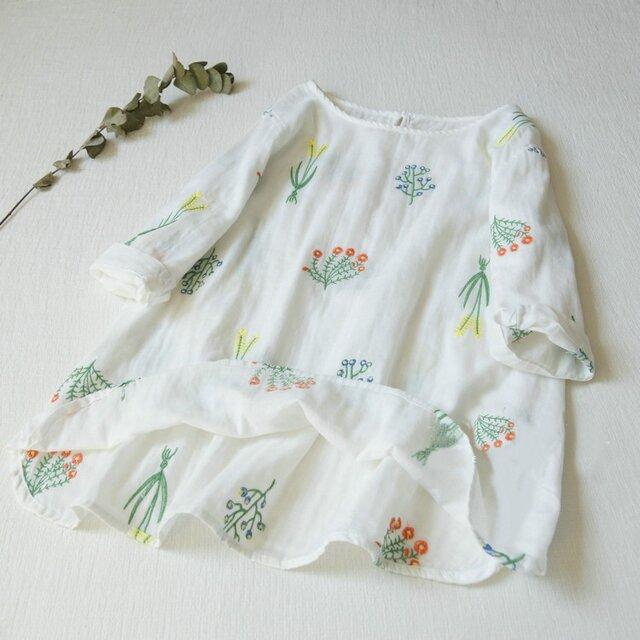 【受注製作】綿麻刺繍!可愛綿麻製トップス・ブラウス098016 白の画像1枚目