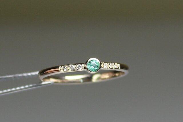 Paraiba tourmaline 2.5mm + Diamonds  Ring / K10YGの画像1枚目