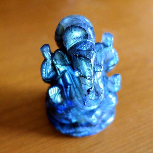 ガネーシャ・カービング(彫像)ラブラドライト-bの画像1枚目