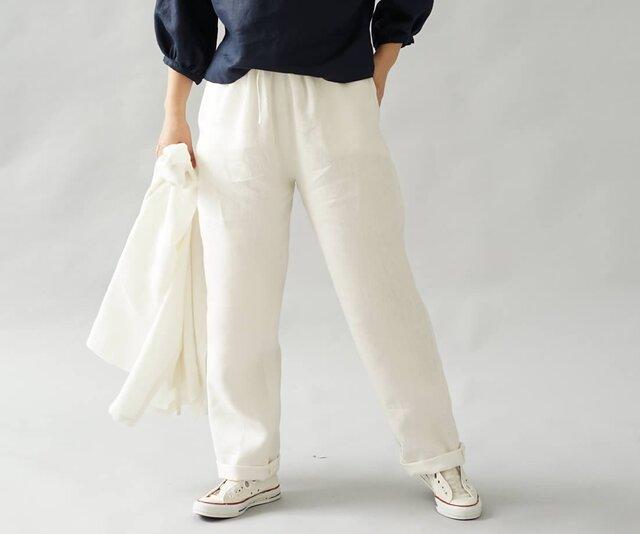 【wafu】中厚 リネンパンツ 男女兼用 先染め リネン ボトムス ウエストゴム & 内側紐あり/白 b001f-wht2の画像1枚目