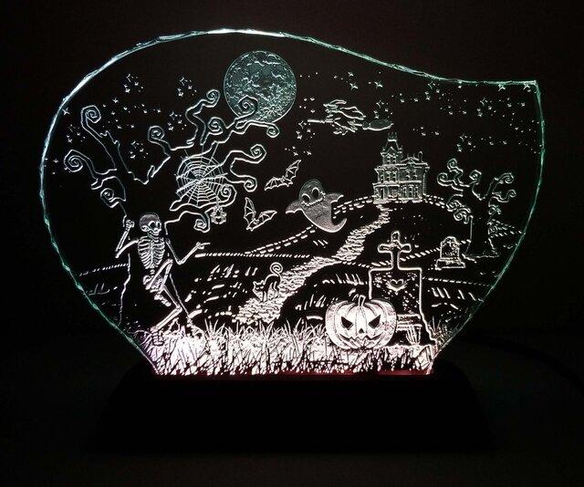ハロウィンのガラスエッチングパネル Lサイズ・LEDスタンドセットの画像1枚目
