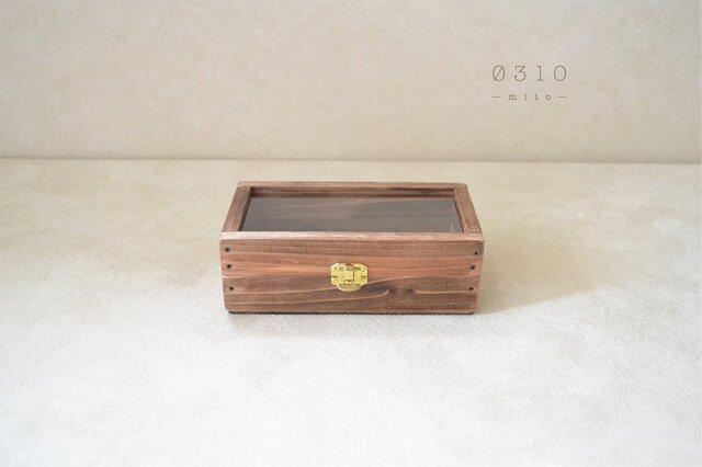 0310 国産ひのきとシンプルガラスのコレクションケース(ダークチョコ)の画像1枚目