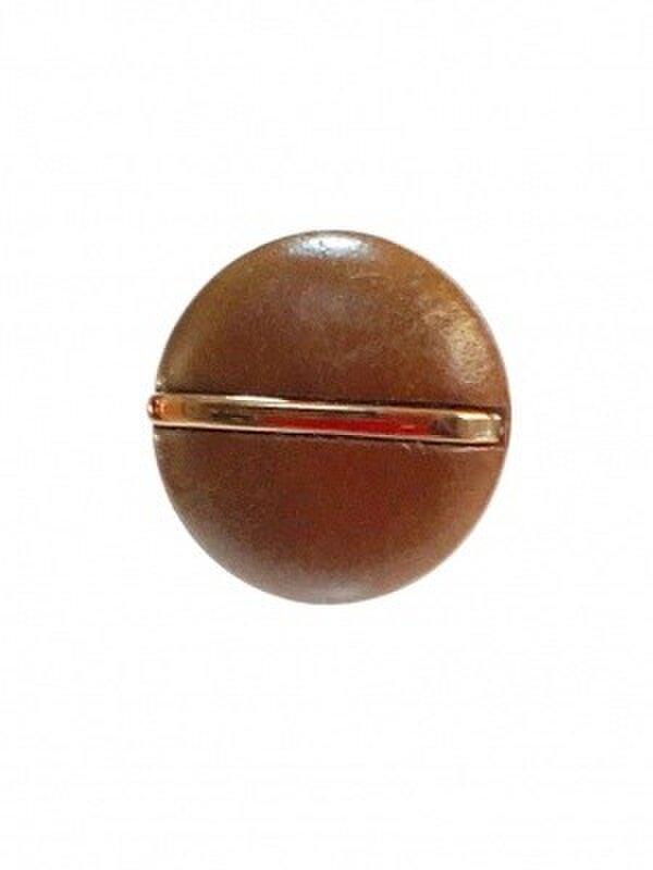 世界の飾りボタン ピンブローチ ブラウン[mazp-105]の画像1枚目