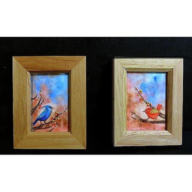 額付き水彩・原画「赤い鳥」「青い鳥」の画像1枚目
