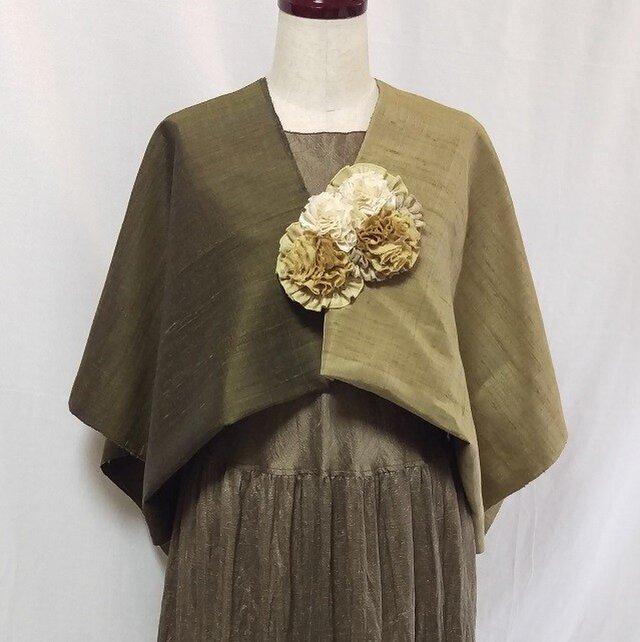 草木染手織りシルク ストールポンチョの画像1枚目