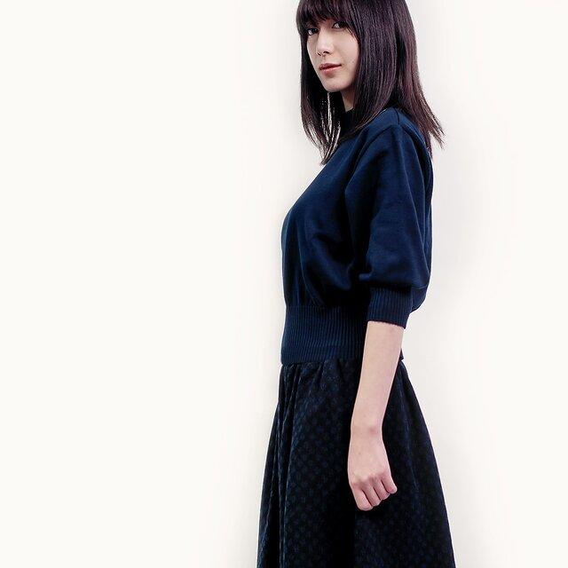 限定1枚★秋冬 黒×濃紺 ランダムドット ウール混 ロングスカート ●SARRA●の画像1枚目