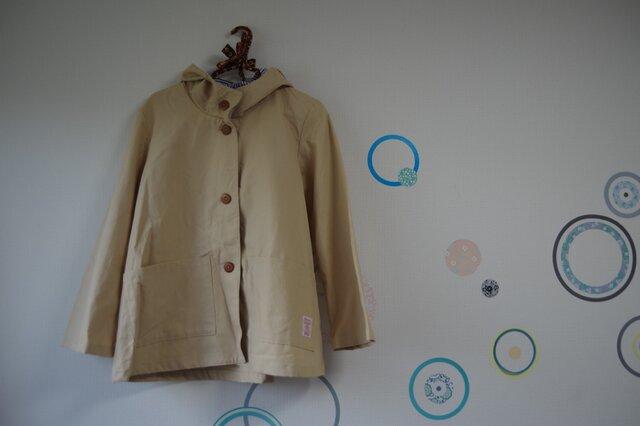 大人のフードジャケット 綿麻 黄味がったベージュの画像1枚目