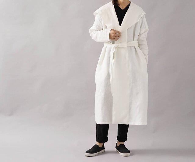 【wafu】中厚 リネン コート 羽織 ローブ ロング丈 長袖 禅 フード コート ユニセックス/ホワイト h009a-wht2の画像1枚目