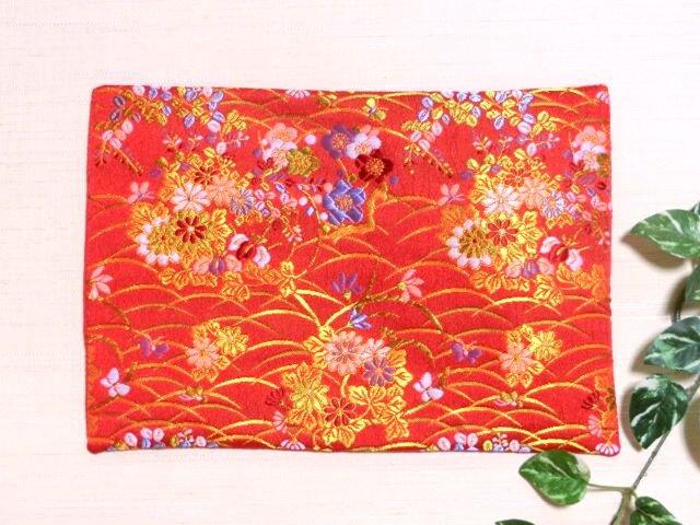 敷物 マット 金襴朱赤花模様 変わり織 30cm幅の画像1枚目