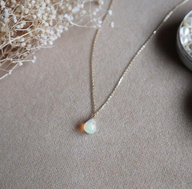 【K10】エチオピア産 プレシャスオパールの一粒ネックレス*10月誕生石の画像1枚目