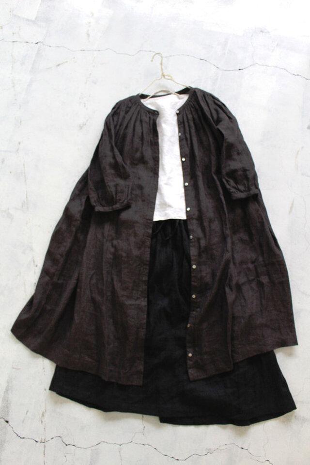 ギャザーロングシャツ*リトアニアリネン100% ダークパープル【受注生産】の画像1枚目