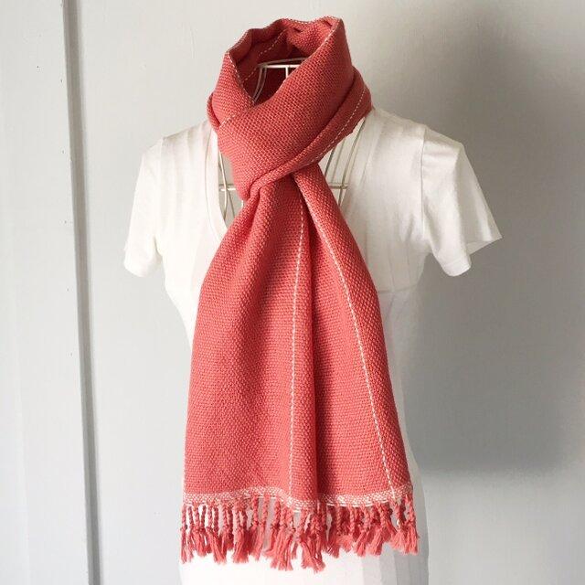 """【ベビーアルパカ:秋冬】ユニセックス:手織りマフラー """"Pink Orange with White lines""""の画像1枚目"""