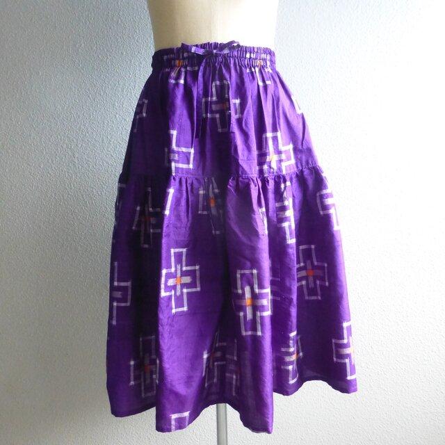 紬リメイクティアードスカートの画像1枚目