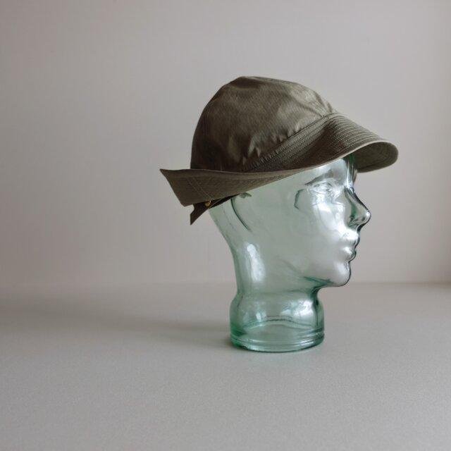 ◆ sale ◆ テントな帽子 - コットンナイロン・リップストップ オリーブグレー -の画像1枚目