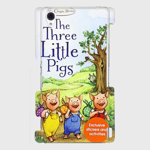 童話絵本(3びきのこぶた) Galaxy S8等 大サイズスマホ対応 ハードケースの画像1枚目
