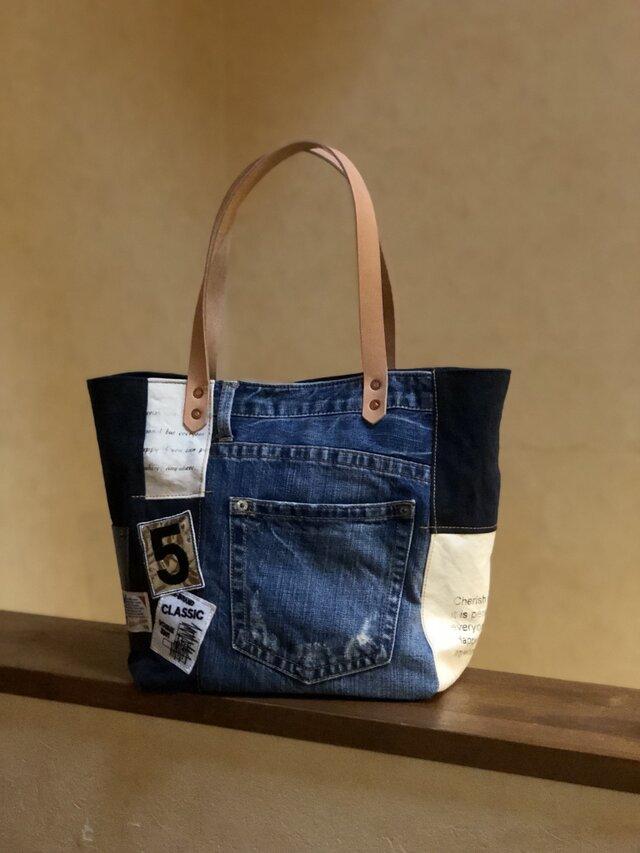 宅急便送料無料☆army duc square tote bag M patch denim & navyの画像1枚目