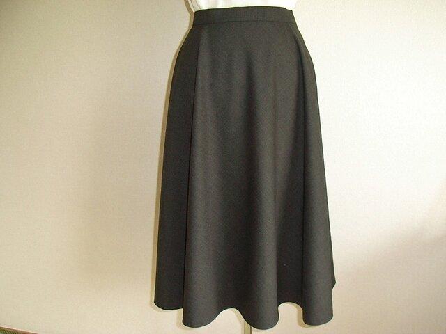 ウールのフレアスカート(焦げ茶)の画像1枚目