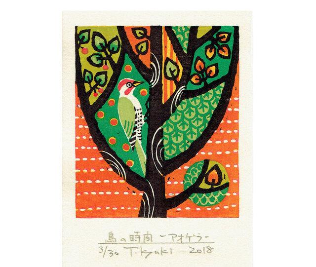 多色摺木版画「鳥の時間ーアオゲラ」額付きの画像1枚目