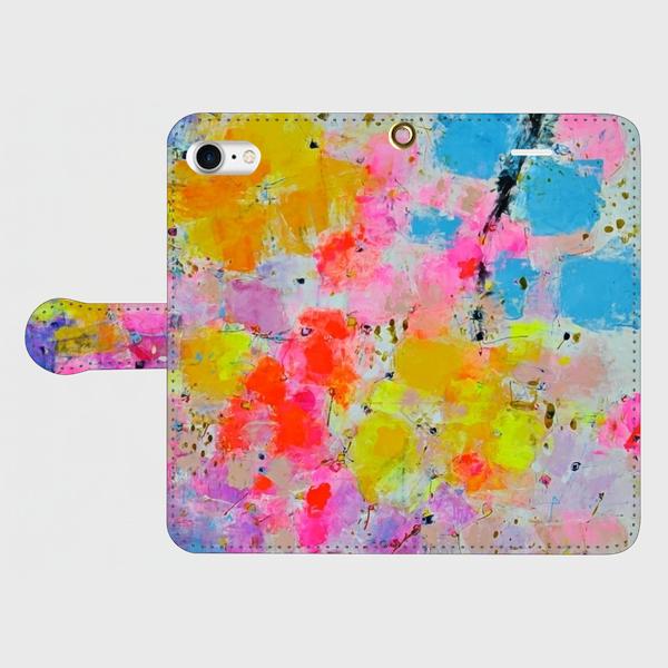 """アートペイント """"花束""""  iphone 5/5s/6/6s/SE/7/8/X 専用 手帳型ケース 抽象画の画像1枚目"""