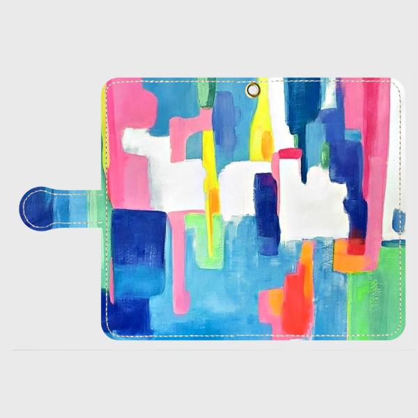 """アートペイント """"虹のはじまり""""  android S,Mサイズ  多機種対応手帳型スマホケース 抽象画の画像1枚目"""