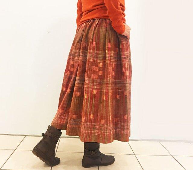 再販☆彡手織りコットンギャザーロングスカート、オレンジ、オールシーズン可の画像1枚目