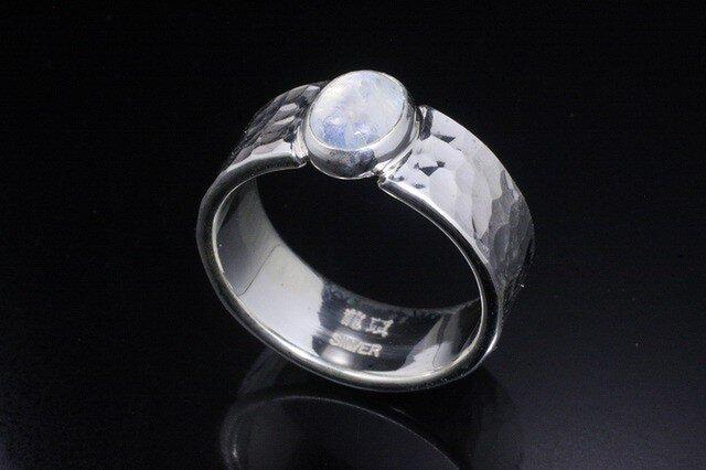 指輪 メンズ : 丸鎚目リング  レインボー ムーンストーン 14~28号の画像1枚目
