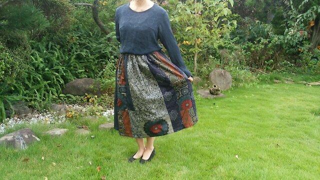 着物リメイク ♪ 大島紬のパッチスカート ♪一点品の画像1枚目