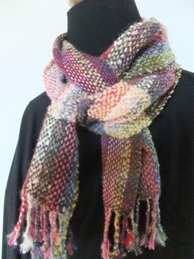 お気に入りの糸たちの手織りマフラーf7の画像1枚目