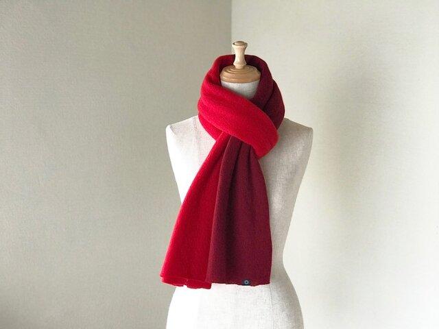 Pureカシミヤ筒編みのバイカラーマフラー Redの画像1枚目