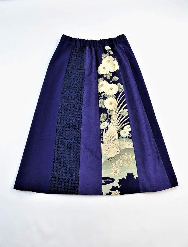 着物とレースのスカート:鳥と花(ロイヤルブルー) 着物リメイク 送料無料 1809s04の画像1枚目