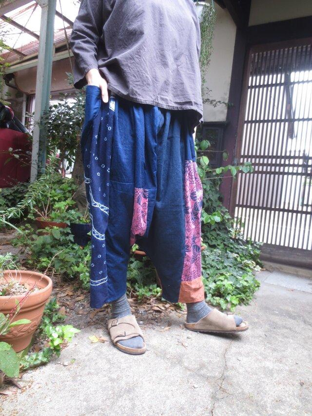古布リメイク☆嬉しい楽しいサルエルパンツ☆藍染めの魅力いっぱい♪の画像1枚目
