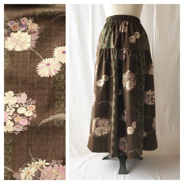 【和柄】はんなりとシックなティアードスカート(月と花:黒茶)の画像1枚目
