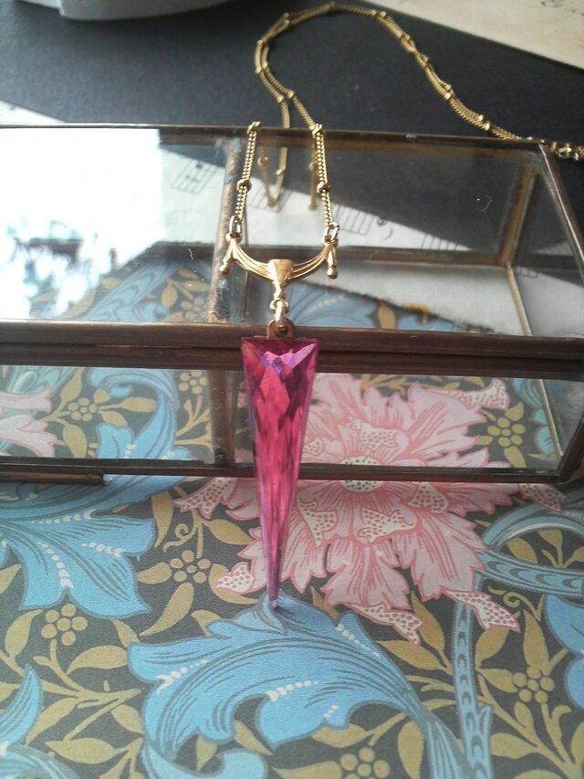 ヴィンテージ Triangle-Pink/Drape ネックレスの画像1枚目