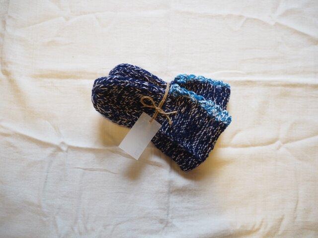 手編みのソックス ネイビーの画像1枚目