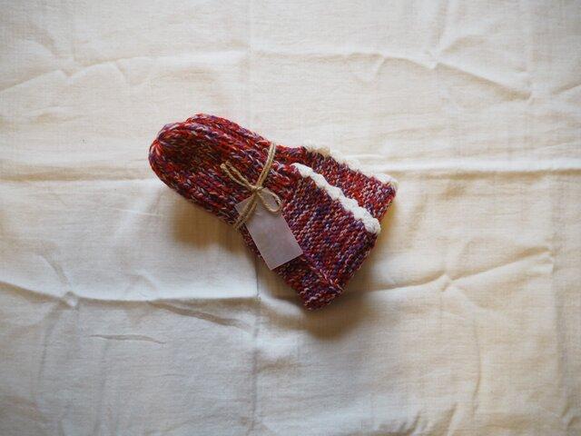 手編みのソックス レッドの画像1枚目