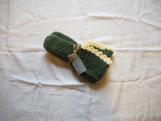 手編みのソックス グリーンの画像1枚目