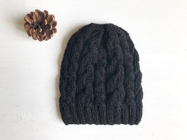 ニット帽子a[ブラック]の画像1枚目